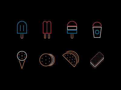 Frozen Treat Line Icons design graphic vector popsicle icon design treats line art dessert icon set icons ice pop ice cream