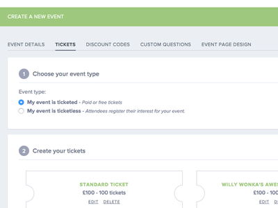 Create Event - Tickets Section ui