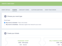 Create Event - Tickets Section