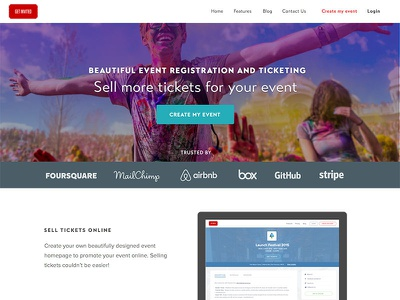 Get Invited Homepage ticketing design homepage