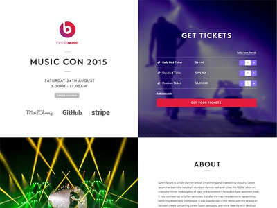 Music themed event page  events ticketing