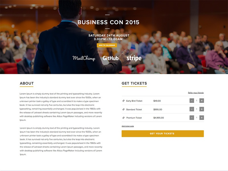 Event page business