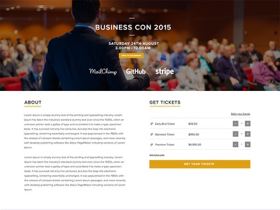 Business themed event page events ticketing