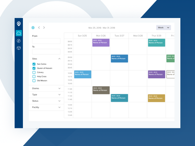 Calendar interface sidebar calendar ui