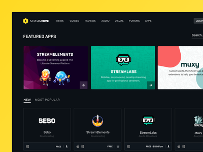 Streamhive dark interface streaming appstore store app ui