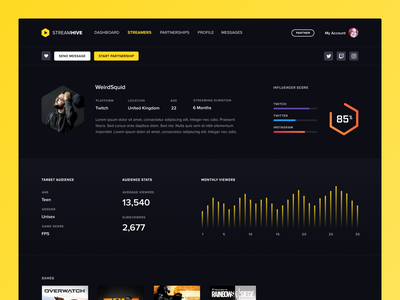Streamhive dark gaming profile ui