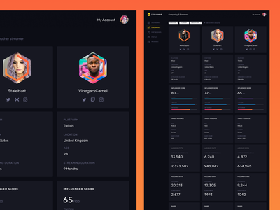 Streamer Comparison comparison interface dark app clean ui