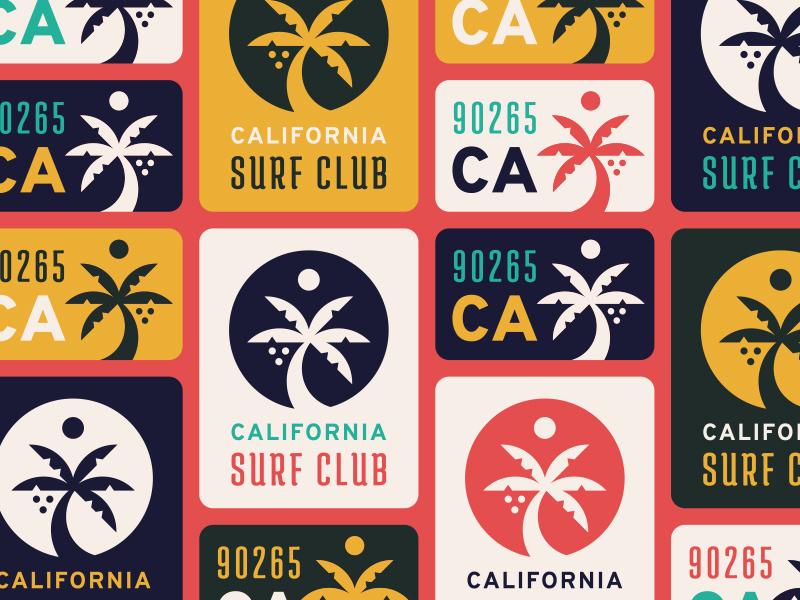 California Surf Club vibes summer beach palm tree colors lettering icon typography logo club surf california