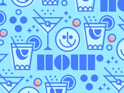 Happy Hour design graphic design positive vibes happy smiley face colors illo illustration friday happy hour