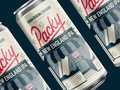 Packy New England IPA syndicate beer can beer chicago lettering design vector illustration colors typography
