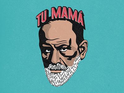 Freud dice... insulto mother mama tu mama sigmund freud freud wacom digital photoshop design illustration