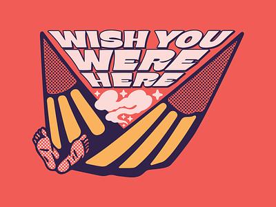 Wish You Were Here smoke hamaca hammock wish you were here illustrator digital vector design illustration