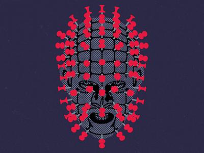 Pinhead, literal. halftone texture pinterest pin horror movies horror pinhead hellraiser wacom photoshop digital design illustration