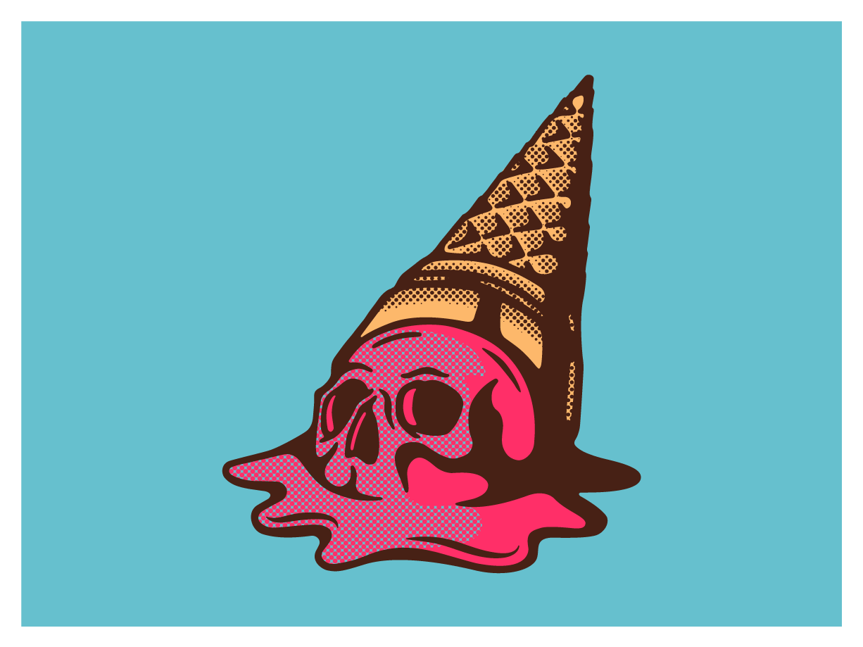 Ice Scream death ice melted skull ice cream ice cream cone halftone pattern digital wacom texture illustrator vector design illustration