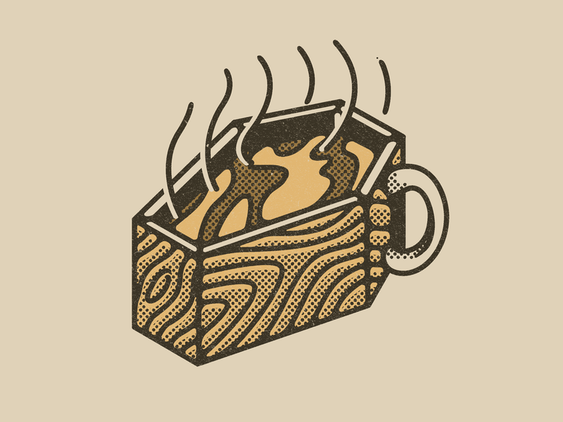 Coffin break hot wood death coffee break coffee mug coffee coffin halftone pattern digital wacom texture illustrator vector illustration