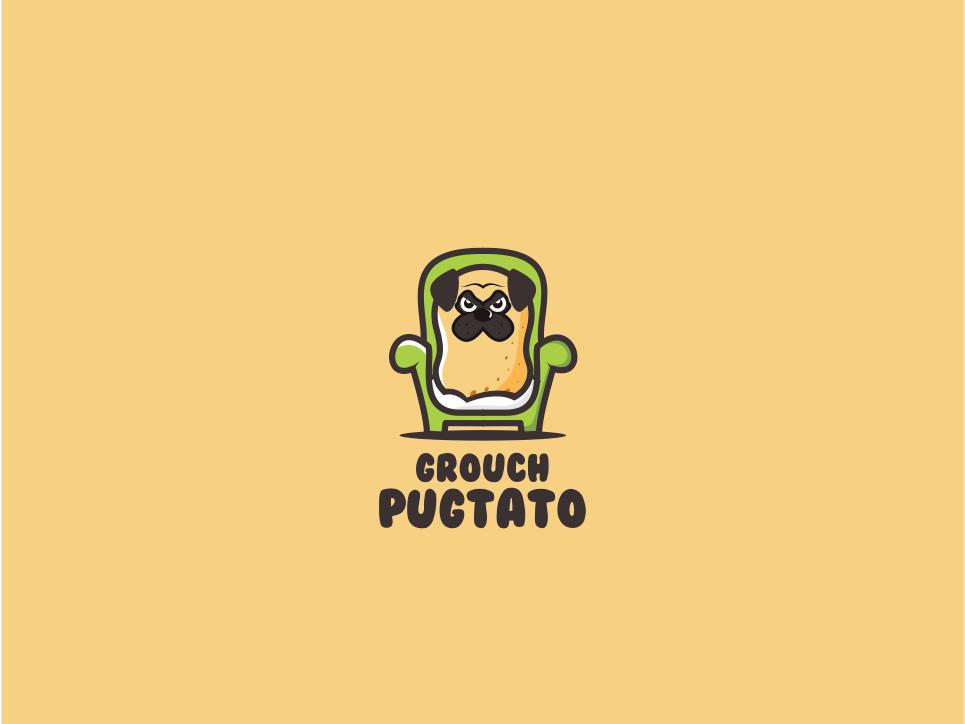 Pugtato fun animal cartoon branding cute mascot character playful icon logo