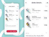Order Details mobile app app checkout process ui list order cart payment checkout