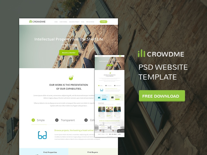 Free Crowd Funding Web Template PSD web web template psd