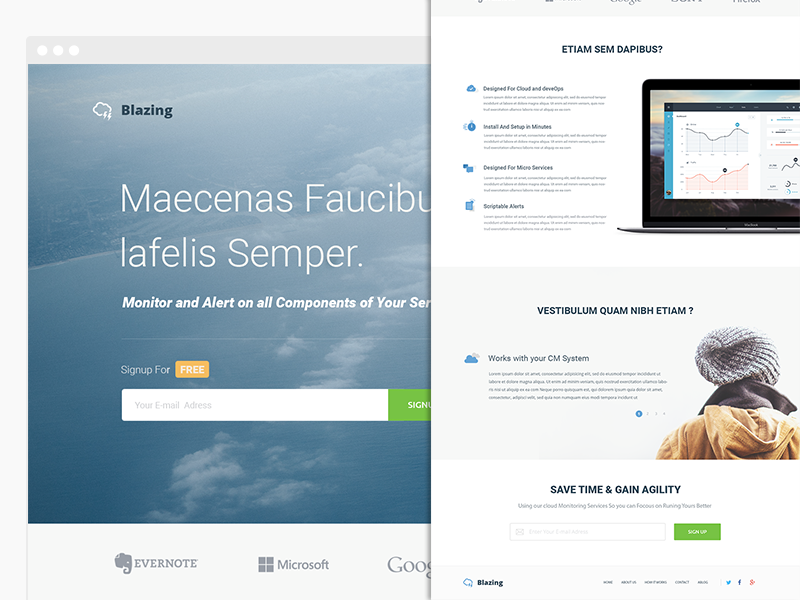 Cloudsblazing App - Landing Page landing page web