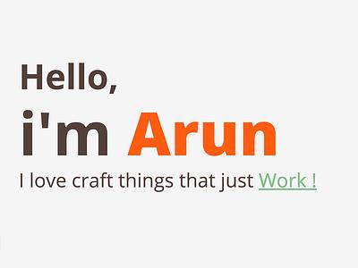 Hello, I am Arun typograhy portfolio