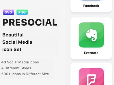 PRESOCIAL - Social Media Icon Set free webdesign icons pack icons icons design iconset icon web ui