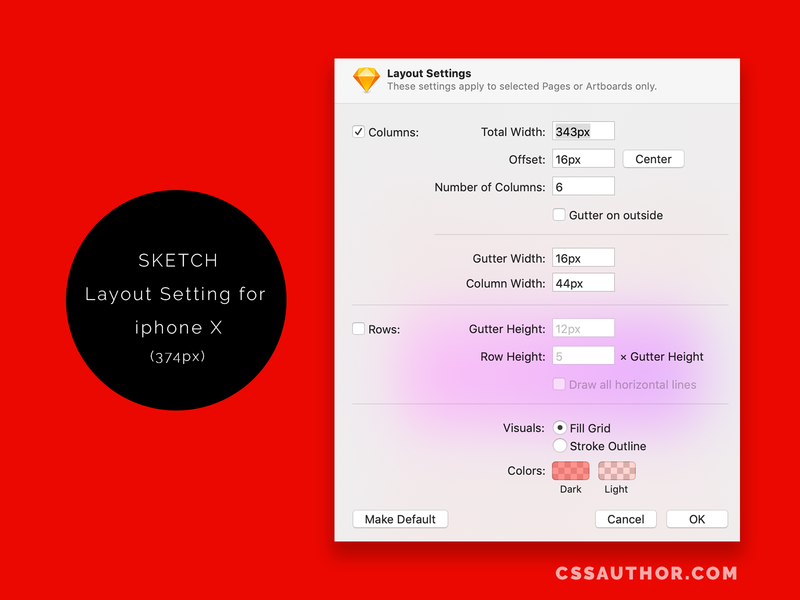 Sketch  Grid Layout Settings for iphone X (375px) sketchlayout grid iphonegrid ui