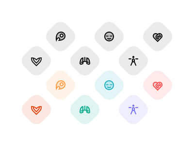 Health icons ui vector iconography mindfulness exercise heart android app health