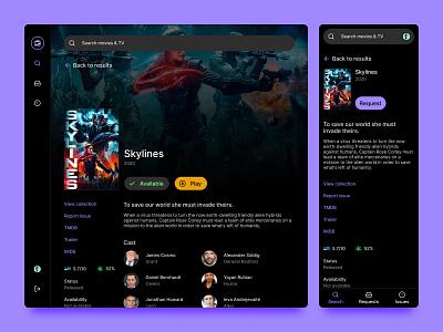Entertainment ui dark mode movies website web
