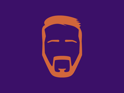 Doodle for the Birthday Boy silhouette face beard orange purple vector