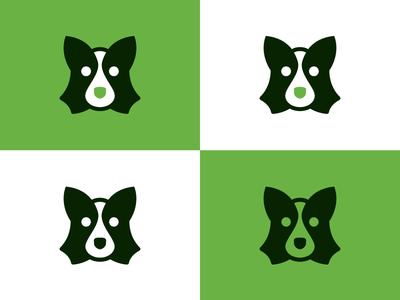 Unused Doggo icon green glyph logo mark dog
