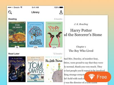 iOS book reader app potter vector freebie free sketch iphone app reader book ios