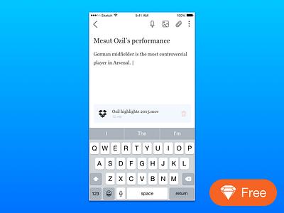 iOS note app text ozil vector sketch freebie free note app iphone ios
