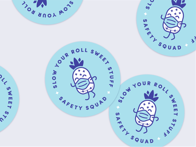 Protect swag stickers punny safety welcome pineapple stickers envoy swag covid19 office design vector illustration