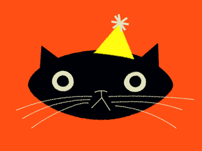 It's caterday, let's party. retro cat birthday doodle design vector illustration