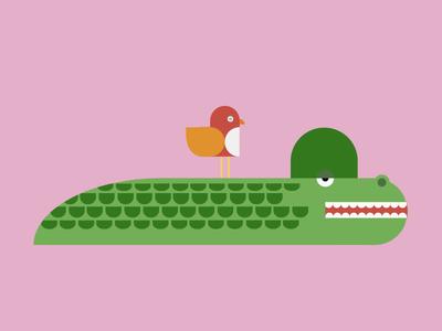 Gators Gonna Gate. bird illustration childrens aligator