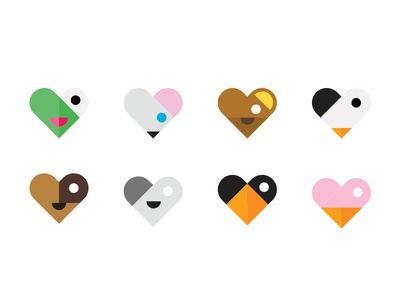 Animal Hearts hearts icons childrens animals
