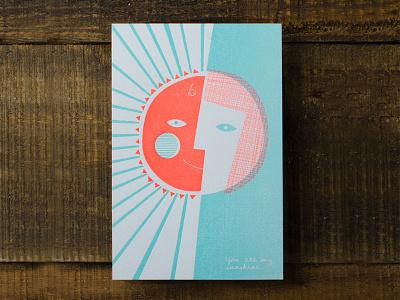 Sonshine letterpress sun mother son grateful gratitude sunshine