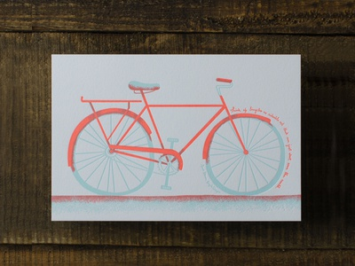 Bicycle overprint letterpress neon bike bicycle