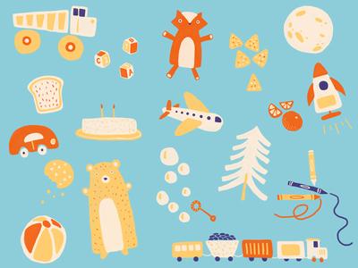 Favorite Things Doodles birthday train rocket moon fox bear doodles illustration
