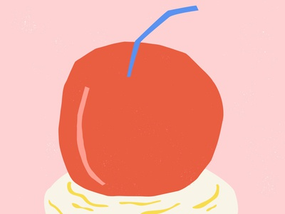 Cherry On Top 1 blue cherry red pink whipped cream illustration cherries cherry