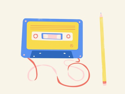 The Cassette and the Pencil 80s illustration doodle pencil cassette tape cassette