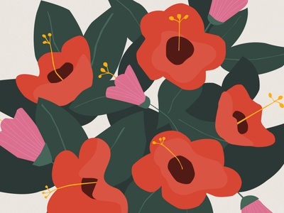 Blobby Flowers pattern floral beauty illustration hibiscus blobby wip flowers