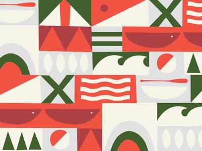 Outdoor Pattern wip identity adventure outdoor mid century illustration pattern
