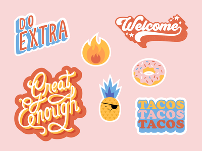 Envoy sticker set icon fire donut pineapple stickers swag emojis illustration lettering