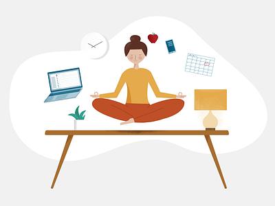 Workplace Wellness zen workplace blog wellness office vector illustration