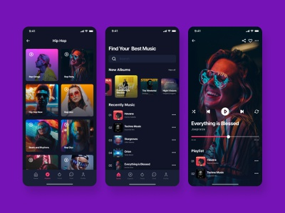 Music App UI Design uiuxdesign uidesign figma design figmadesign playlist uiux mobile interface mobile app design song play music player app music player music app application appdesign figma ui ui-design interface design