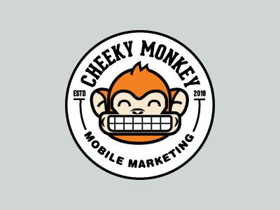 Cheeky Monkey smile cheesy circle brand identity logo badge cheeky monkey