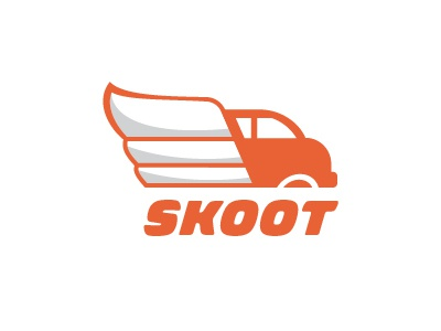 Logo Concept for an Airport Shuttle Company logo skoot airport van shuttle wing wheel orange
