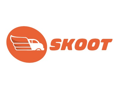 Logo Concept for an Airport Shuttle Company (02) logo skoot airport van shuttle wing wheel orange