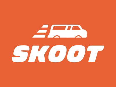 Logo Concept for an Airport Shuttle Company (04) logo skoot airport van shuttle wing wheel orange